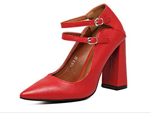 Doppio Pulsante Donne YCMDM poco profonda della bocca a punta di massima con Tacchi alti singoli pattini scarpe rosse da sposa , red , 38