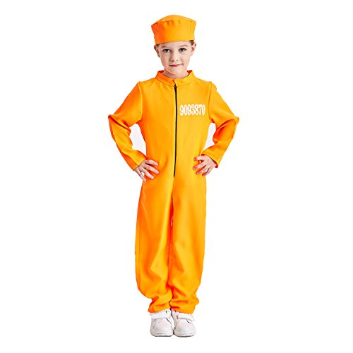 (Charm Rainbow Kid's Prisoner Jumpsuit Costume Orange Jail Cosplay Suit, 3-12)