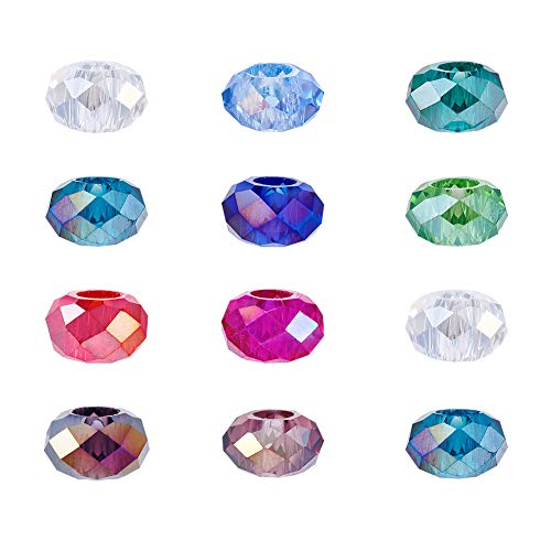 (Craftdady 100Pcs AB Mixed Colors Faceted Glass Large Hole European Beads 14x8mm Rondelle Slide Bead Spacers for DIY Snake Chain Charm Bracelet Making with 5mm Big Hole)