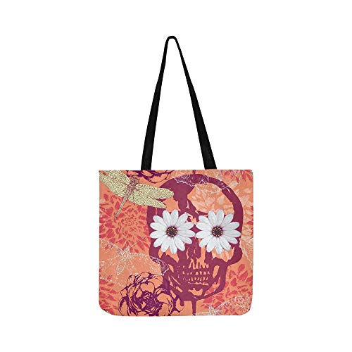 Swagger Knit - Vintage Vector Seamless Pattern With Skull Flower Canvas Tote Handbag Shoulder Bag Crossbody Bags Purses For Men And Women Shopping Tote