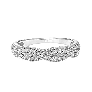 Brilliant Expressions 14K White Gold 1/3 Cttw Conflict Free Diamond Double-Twist Fashion Anniversary Band (I-J Color, I2-I3 Clarity)