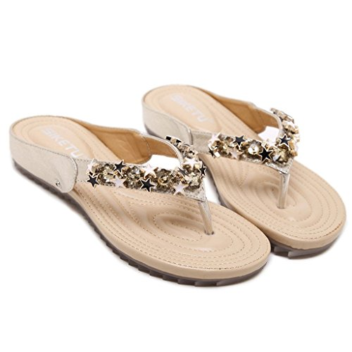 Tallone Boho flop Piani Delle Di Auspicious Del Beginning Pattini Flip Beige Donne Bassi Sandals wzxqFn0I4