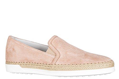 Tod's slip on donna in camoscio sneakers nuove originali gomma rafia pantofola r