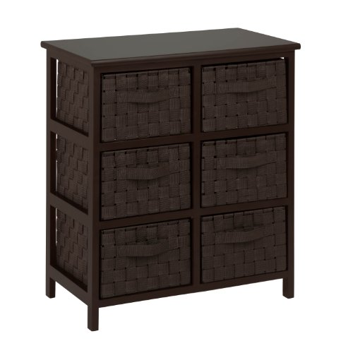 Honey-Can-Do TBL-03759 6-Drawer Storage Chest with Woven-Strap Fabric Drawers, Brown Finish, Espresso, 24