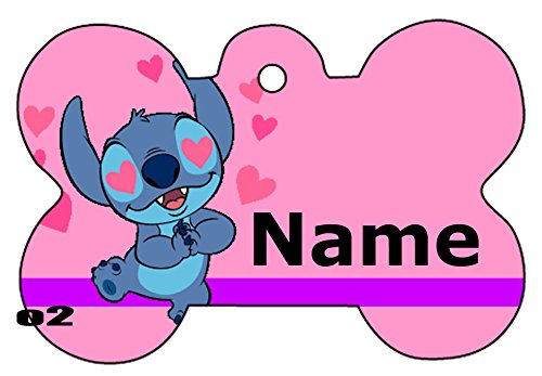 O2 Stitch Love Cute Art Design Custom Logo Dog Pet Cat ID Tag Bone Shape Personalized Key Ring (Peanuts Gang Names)