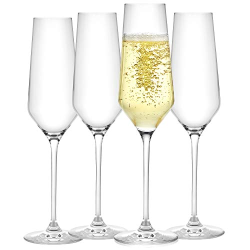 JoyJolt Champagne Flutes – Layla Collection Crystal Champagne Glasses Set of 4 – 6.7 Ounce Capacity – Ideal for Home Bar…