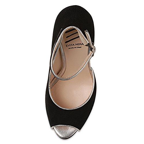 Evita Shoes mujer sandalia de tacón alto negro - negro