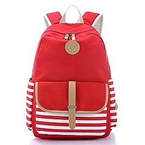 Veenajo Casual Lightweight Canvas School Backpack Laptop Bag Shoulder Daypack Handbag Red