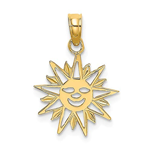 Gold Smiling Sun Charm - 14k Yellow Gold Smiling Sun Pendant Charm Necklace Celestial Fine Jewelry Gifts For Women For Her