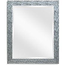 Eco-home Wall Mirror Decorative Vanity - Bathroom Rectangular Modern Beveled Frame 20x24 Silver
