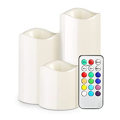 Battery Operated Candles, Primacc Flameless Candles Flickering and Romantic LED Candles With 18 Keys Remote Timer for Festival Decoration