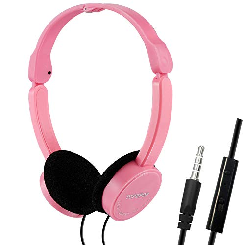 Wired Headphones on Ear Headset Noise Reduction Headphone Foldable Earphones PC Headset 3.5mm Headband Earpiece with Mic Volume Control for Adult Kids Boys Girls Teen Child Children Android Phones PC