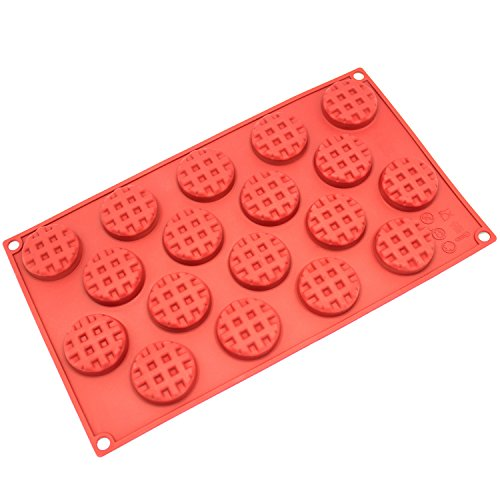 Freshware SM-137RD 18-Cavity Silicone Mini Round Waffle, Cookie, Chocolate, Candy and Gummy Mold ()