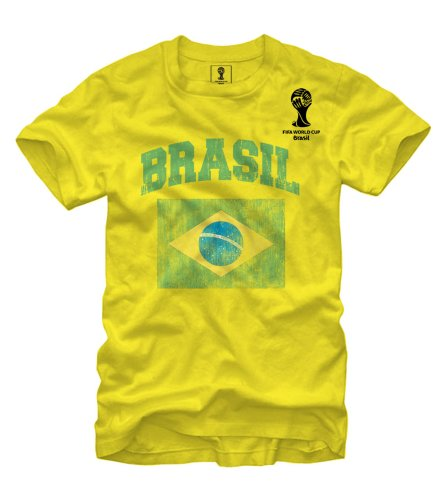 Brasil Soccer 2014 FIFA World Cup Flag Yellow T-shirt X-Large