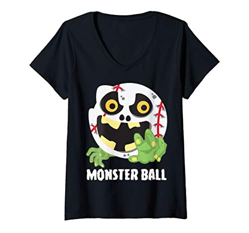 Womens Baseball Monster Ball Scary Cool Player Halloween Costume V-Neck T-Shirt