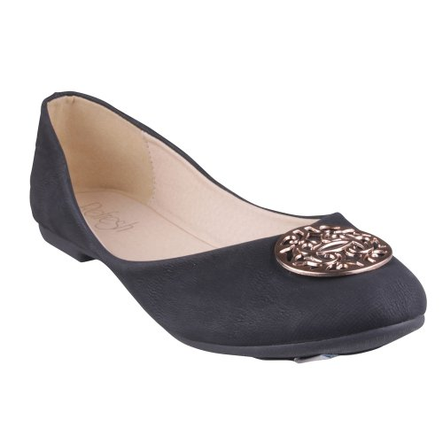 REFRESH VIOLA-02 Womens Ballet Flats with Medallion vamp,Color: BLACK, Size: 8
