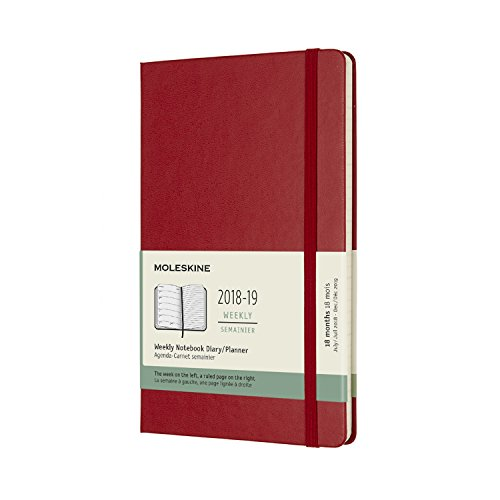 Moleskine 2018-2019 18M Weekly Notebook, Large, Weekly Notebook, Red Scarlet, Hard Cover (5 x 8.25) Large Weekly Notebook