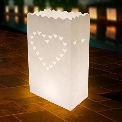 Amazon.com: Corazón bolsas de vela blanco. Tamaño 51/2