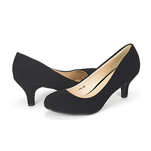 (DREAM PAIRS Women's Luvly Black Nubuck Bridal Wedding Low Heel Pump Shoes - 9.5 M US)