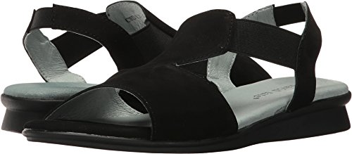 (David Tate Women's Ash Demi Wedge Sandal,Black Nubuck,US 8.5)