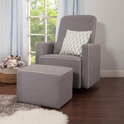 DaVinci Olive Upholstered Swivel Glider With Bonus Ottoman In Grey With Cream Piping, Greenguard Gold Certified