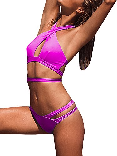 - Womens Strappy Halter Sexy Criss Cross Bikini Cut Out Push up Padded Two Piece Bandage Swimsuits