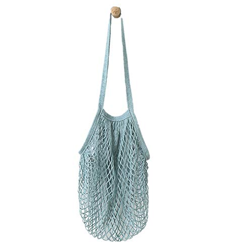 Reusable Fruit String Grocery Shopper Cotton Tote Mesh Woven Net Shoulder Bag Beach Bag Summer Large Tote Bags Rope Handle Portable Shopping Bags Blue