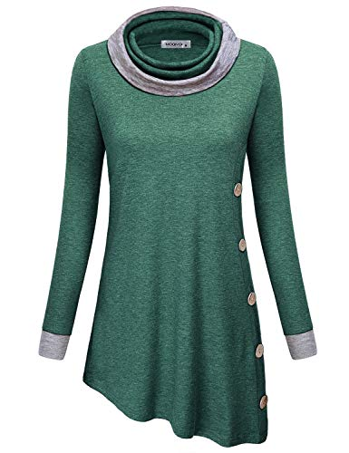 MOQIVGI Asymmetrical Tops for Women,Trendy Casual Flattering Flowy Cute Oblique Hem Tunic Sweatshirts Nice Cowl Neck Long Sleeve Fall Shirts Ladies Marled Loose Comfy Dressy Sweaters Green X-Large