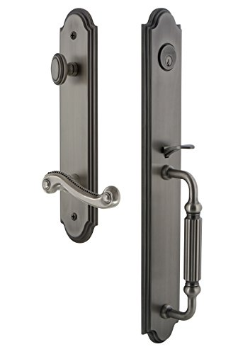 Grandeur 846901 Hardware Arc One-Piece Handleset with F Grip and Newport Lever Size, Single Cylinder Lock-2.375