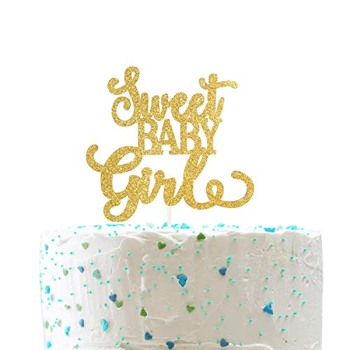 Baby Sweet Cakes (Sweet Baby Girl Cake Topper,Baby Girl 1st Birthday Sign,Gender Reveal Baby Shower Decorations( Double Sided Gold Glitter ))