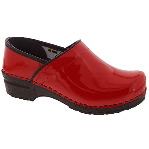 Bjork PRO ELSA Red Patent Leather Clogs (38 M - Comfort Red Clogs