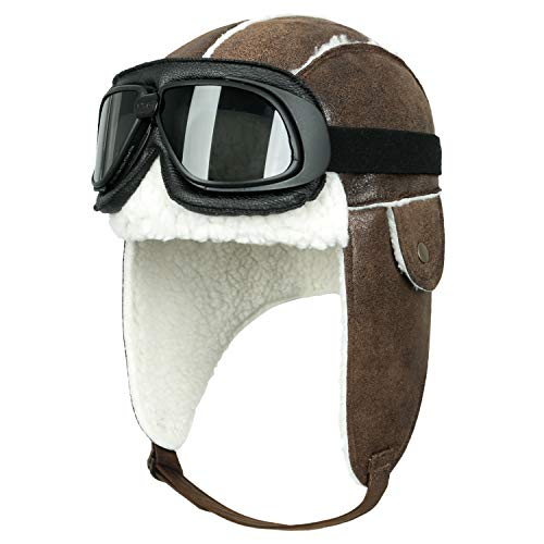 ililily Aviator Hat Winter Snowboard Fur Ear Flaps Trooper Trapper Pilot Goggles (One Size, Light Brown&White/Black Goggle)
