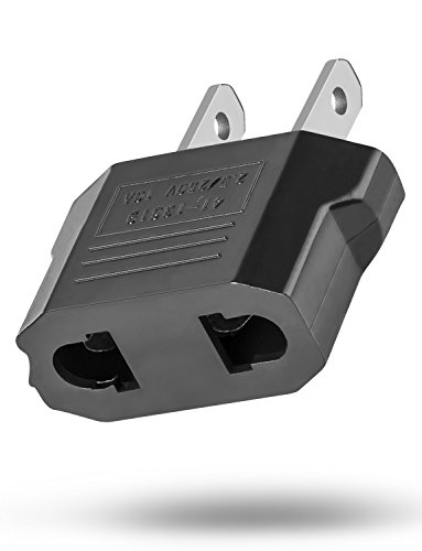 European Adapter, Fosmon Type C EU to USA & Canada Travel Adapter Plug, 2 Prong Universal Power Converter (Black)
