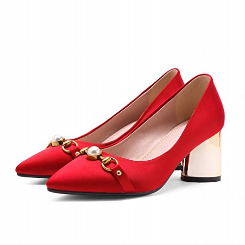 Mee Shoes Women's Sweet Faux Pearl High Heel Slip On Size 2-8 Court Shoes Red mJ3dfj