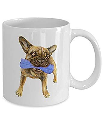 Tan French Bulldog Mug - Style No.13 - BLUE - Cute Ceramic Frenchie Coffee Cup (11oz)