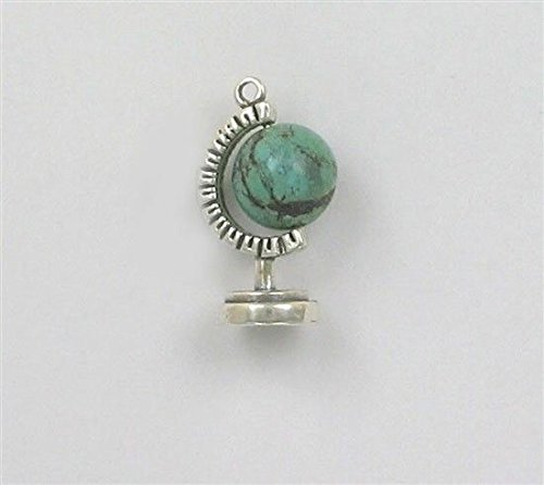 Sterling Silver 3-D World Globe Charm, Turquoise Accent Bead Jewelry Making Supply, Pendant, Charms, Bracelet, DIY Crafting by Wholesale (Sterling Silver Turquoise Accent)