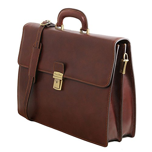 Tuscany Leather - Parma - Cartable en cuir avec 2 compartiments - Marron - Homme