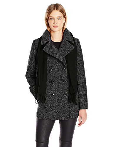 Coat Fog London Breasted Double (London Fog Women's Double Breasted Peacoat with Scarf, Black/White, M)