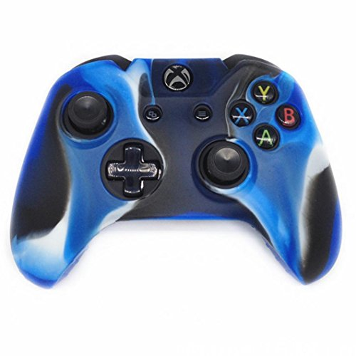 Tuscom 1 Pairs Silicone Case Cover Skin For Xbox One Wireless Controller, Anti-slip Soft Camouflage Protective film,Anti Shock (Blue)
