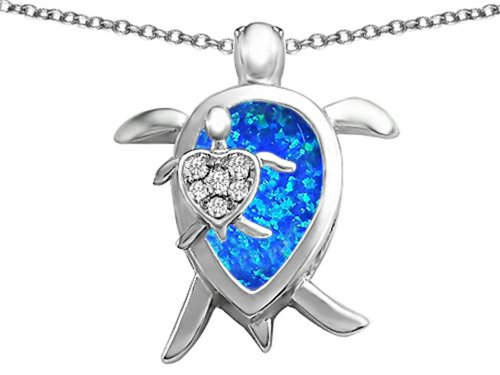 Star K Mother and Baby Turtle family Pendant Necklace Pear Shape Blue Created Opal and Cubic Zirconia