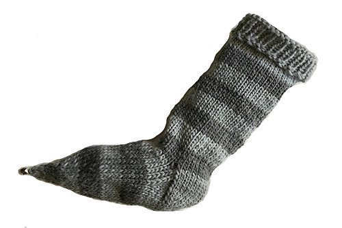 Gray Striped Stocking Hand Knit Pointy Toe with Bell eweandmeyarns