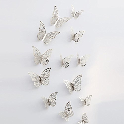 LiPing Wall Paper 3D Hollow Dancing Butterflies Wall Stickers-Removable Decal Art Home Decor Painting Supplies Room Decor Kit-Kids Bedroom Decoration (F) ()