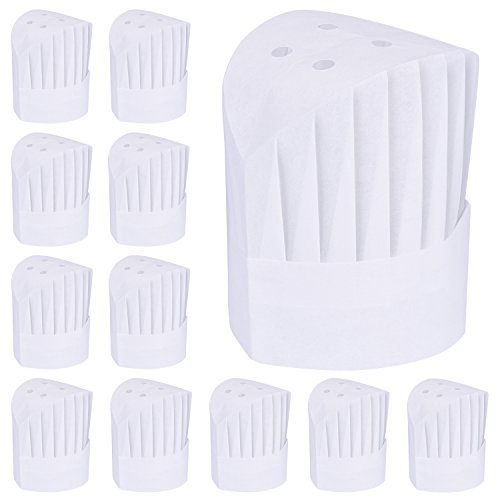 WILLBOND 12 Pack Disposable High Chef Hat Set Adjustable Kitchen Cooking Chef Cap for Home Kitchen, Restaurants, School, Birthday Party or Catering Equipment (9 -