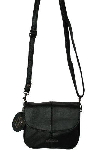Small Leather Flapover Bag - Black