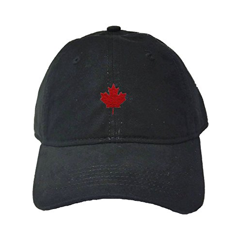 Adjustable Black Adult Canada Maple Leaf Embroidered Deluxe Dad Hat (Deluxe Maple)