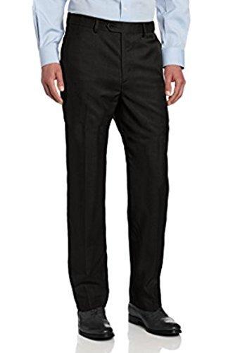 Savane Microfiber Pants - Savane Men's Flat Front Stretch Crosshatch Dress Pant, Black, 33W x 30L