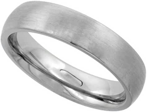 Surgical Stainless Steel 5mm Domed Wedding Band Thumb Ring Comfort-Fit Matte Finish, sizes 5 - 12