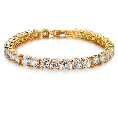T-PERFECT LIFE 24K Gold-plated Swarovski Element AAA Cubic Zirconia Bracelet for Women Elegent Crystals Wedding Jewelry