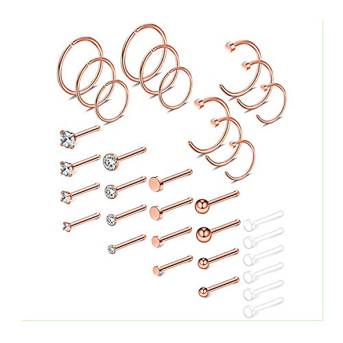 Ruifan 34PCS 18G Surgical Steel Nose Bone Stud Rings Tragus Lip Nose Hoop Ring Piercing Jewelry 1.5mm 2mm 2.5mm 3mm Flat Ball Clear CZ Rose Gold
