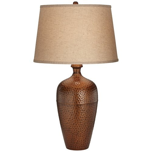 Pacific Coast Lighting Hammered Metal Tall Vase Table Lamp in Copper